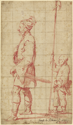 An Oriental Potentate Accompanied by His Halberd Bearer