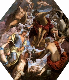 Apollo crowning a Poet and joining him with a Consort, witnessed by Hercules and by four other Females