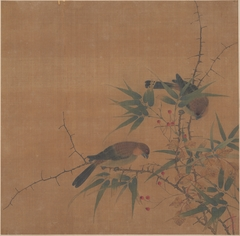 Bamboo Branch with Berries and Birds