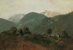 Blick von Scheuchenstein zum Gauermannhof mit Schneeberg im Hintergrund