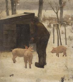Boer bij het varkenskot