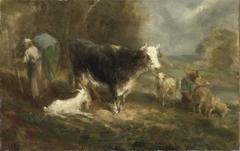 Boerenerf met vee