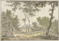 Boslandschap met enkele figuren