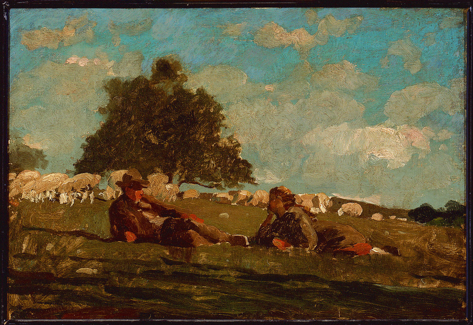 Boy and Girl in a Field with Sheep