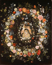Double wreath surrounding a medaillion with the triumph of love
