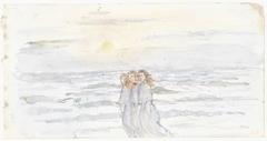 Drie meisjes, bij de zee