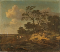 Dune landscape with resting hunters