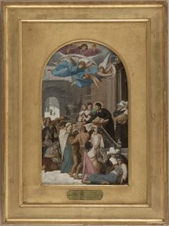 Esquisse pour l'église de la Trinité : Saint Vincent de Paul secourant les Lorrains après la guerre de 1637