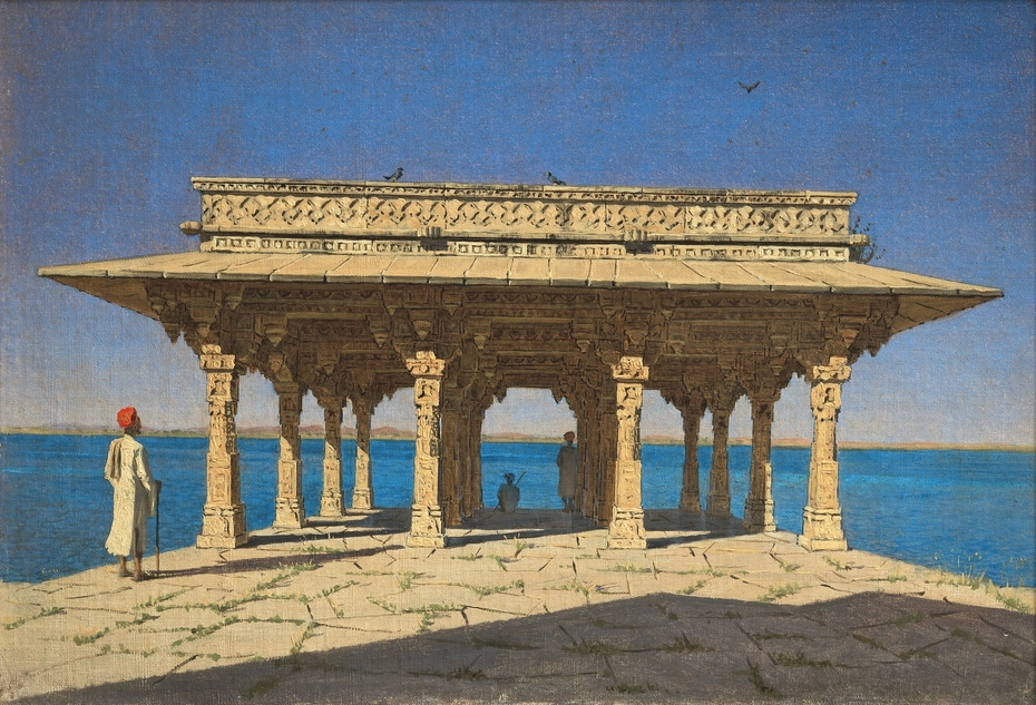 Evening on a Lake. A Pavilion on the Marble Embankment in Rajnagar (Udaipur principality)