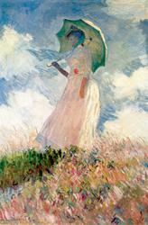 Essai de figure en plein-air : Femme à l'ombrelle tournée vers la gauche
