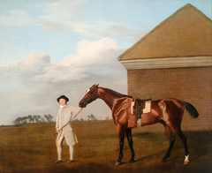 Firetail with his Trainer by the Rubbing-Down House on Newmarket Heath
