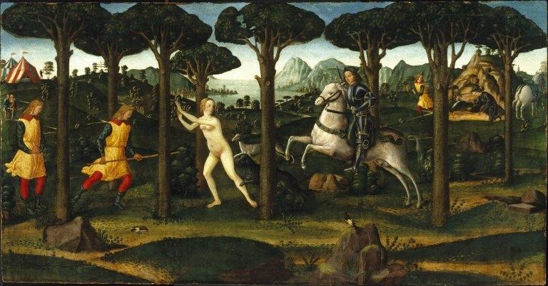 """Forest Scene from the Tale of Nastagio degli Onesti, in Boccaccio's """"Decameron"""""""