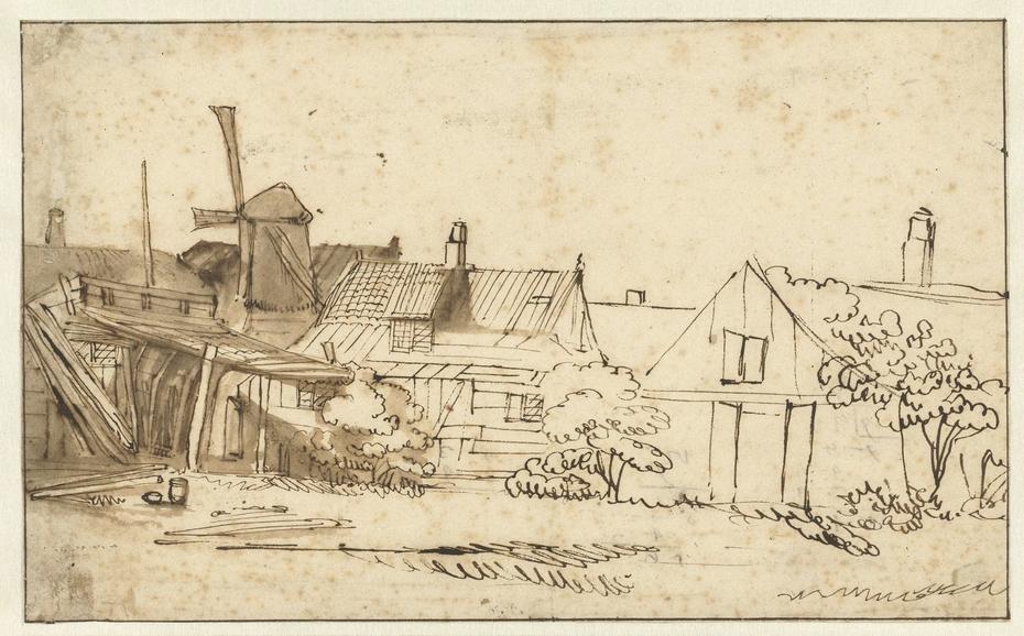 Gezicht op een boerenwoning met een molen