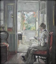 Girl reading / In the Door of the Veranda