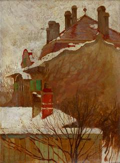 Häuser im Winter (Blick aus dem Atelier)