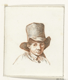 Hoofd van jongen met hoge hoed