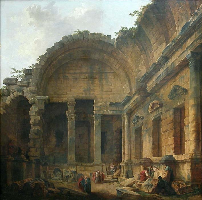 Inside the Temple of Diana in Nîmes