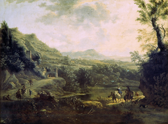Italian landscape with fortress on the rocks