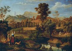 Italienische Landschaft mit pflügendem Landmann (Die Serpentara bei Olevano, Landschaft bei Paliano)