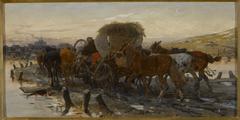Jews leading horses to the market