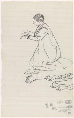 Knielende vrouw en detailstudies van de handen