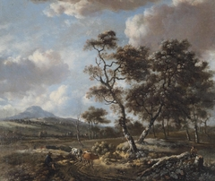 Landscape with cattle being driven along a country road