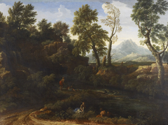 Landscape with figures by a pool