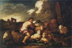 Landscape with shepherd and animals
