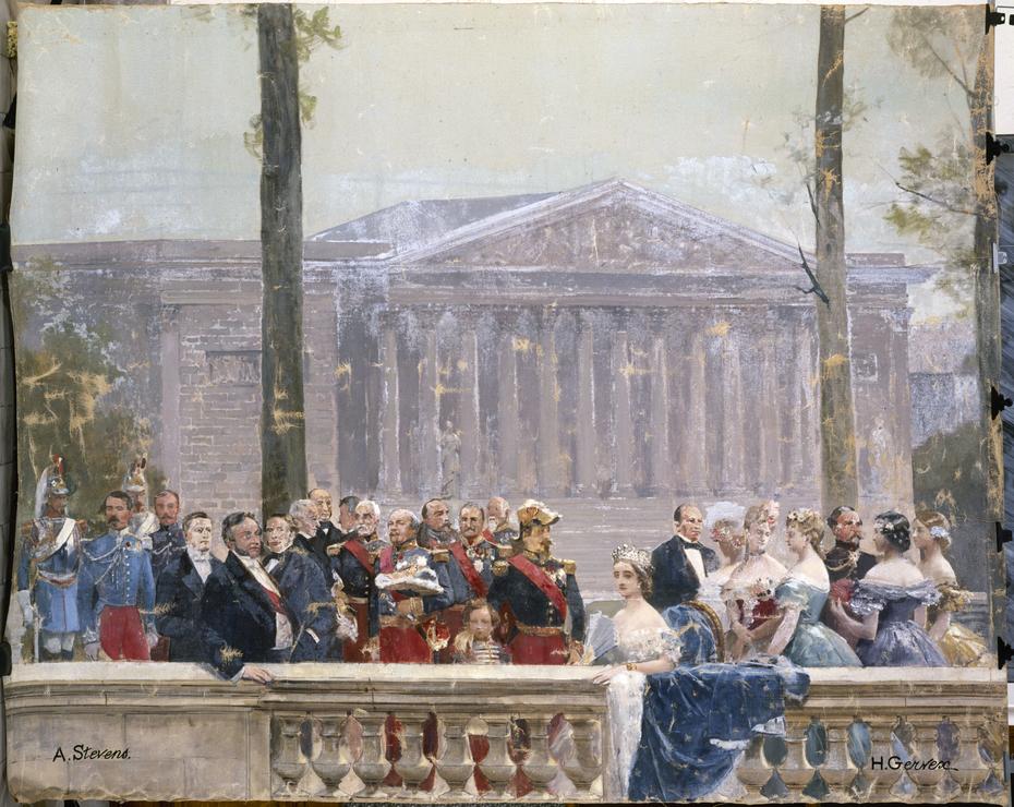 Le Panorama du siècle : la famille impériale entourée de nombreuses personnalités du Second Empire devant le palais Bourbon