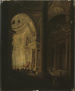 Le sarcophage de Jean-Jacques Rousseau, exposé au Panthéon ; effet de lumière (20 vendémiaire an III - 11 octobre 1794)