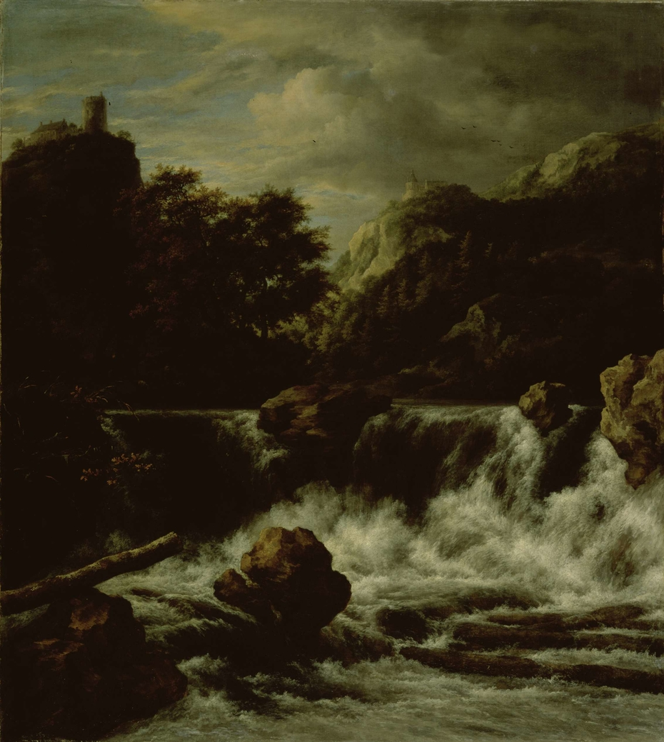 Mountainous Landscape with Waterfall