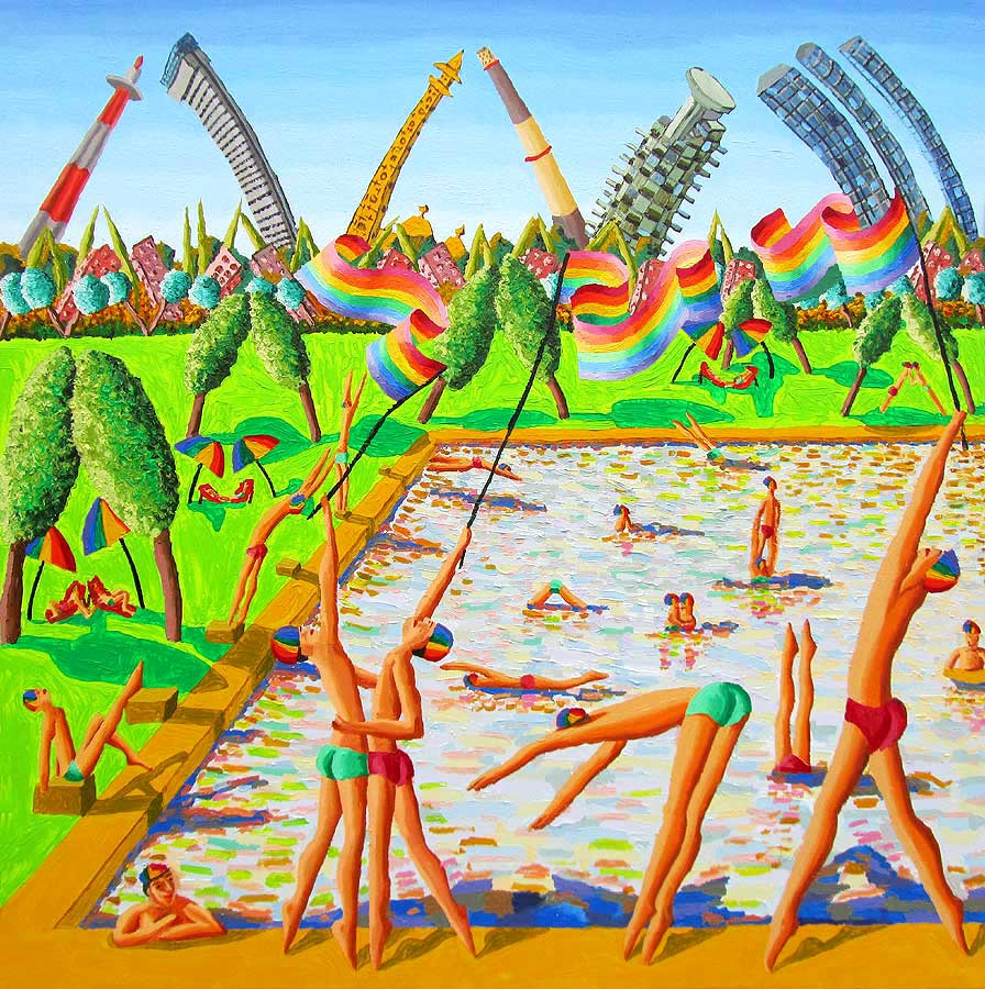 Naive painting of homosexual men on the pool