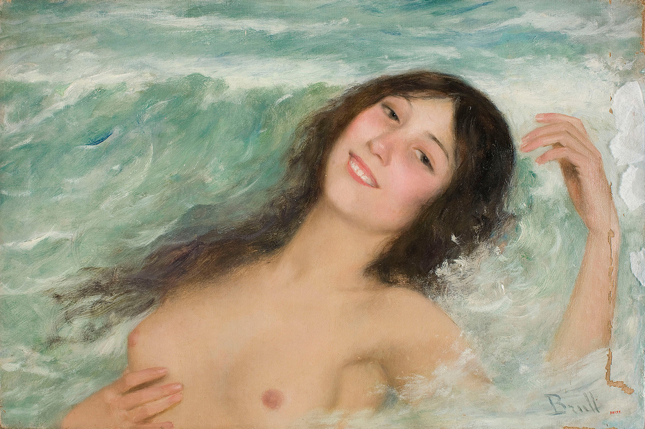 Naked Female Bust Between the Waves
