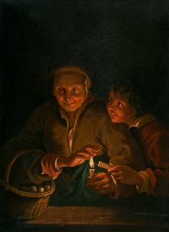 Old Woman and Boy by Candlelight