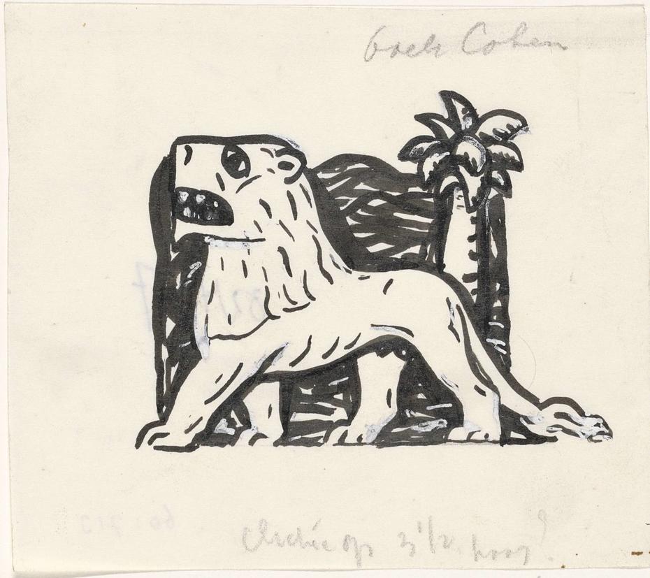 Ontwerp boekillustratie voor Alexander Cohen's Van Anarchie tot Monarchie: leeuw onder een palmboom