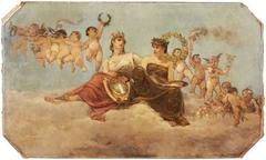 Plafondstuk met allegorische voorstelling van Rotterdam als stad van kunst en handel: wolkenhemel met twee vrouwen en kindertjes