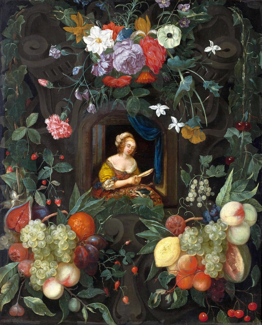 Portrait of a lady surrounded by a garland.