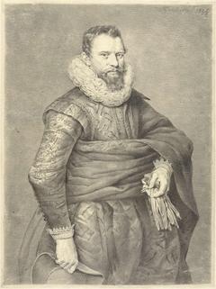 Portret van een man met handschoenen en hoed in de hand, naar rechts