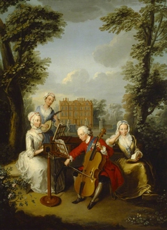 Prince Frederick Louis, Prince of Wales (1707–1751) playing the Cello, accompanied by his Sisters, Anne (1709 - 1759), Caroline (1713 - 1757) and Amelia (1711 - 1786), making Music at Kew