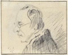 Profiel van man met bril, naar links