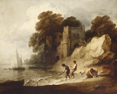 Rocky Coastal Scene with Ruined Castle, Boats and Fishermen