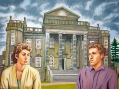 'Romantic tryst at Seaton Delaval Hall circa 1959', (2013) oil on linen, 76 x 102 cm