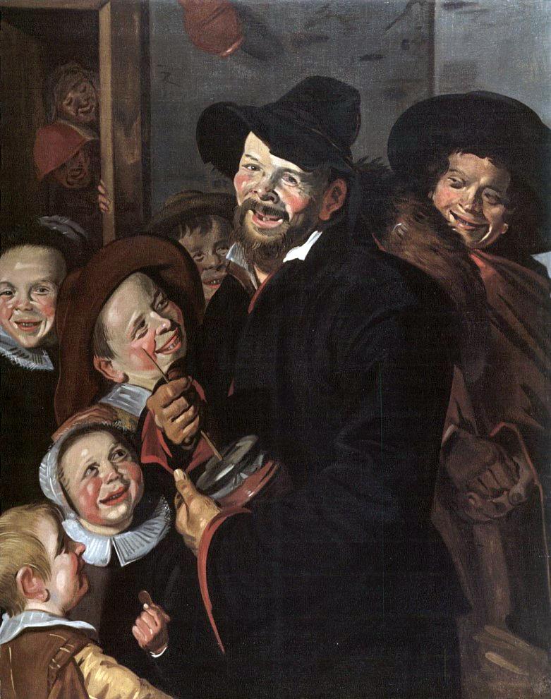 Rommelpot Player with Six Children