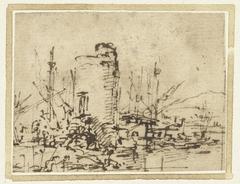 Ronde toren aan een haven