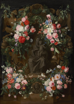 Seated Maria in a Flower Garland