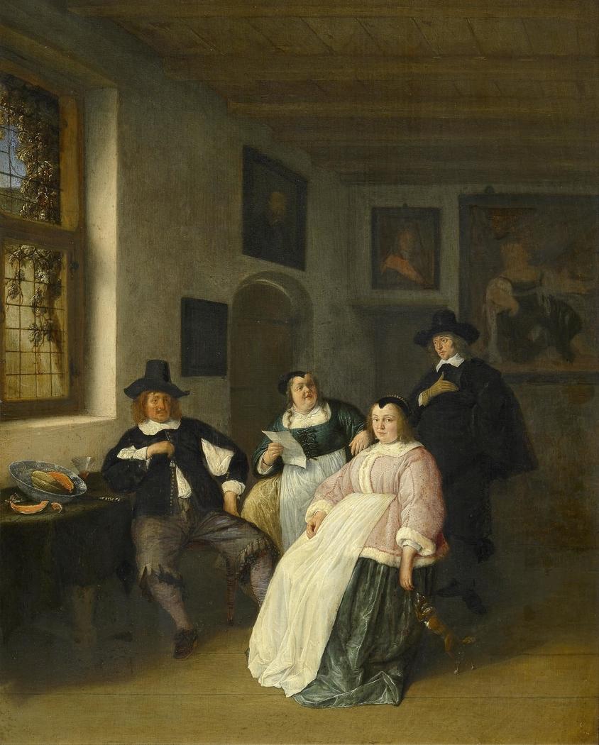 Self Portrait of Adriaen van Ostade (1610-1685) with the De Goyer family