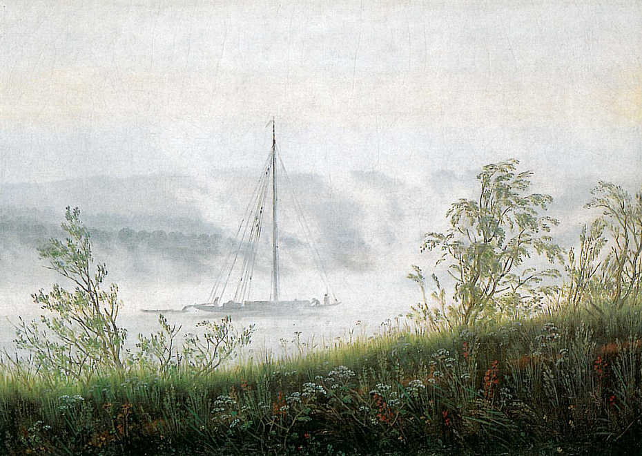 Ship in the early morning fog