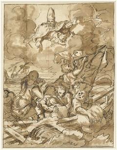 Sint Nicolaas doet de storm op zee bedaren
