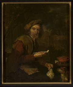 Smoker with a pipe and a pitcher in his hands