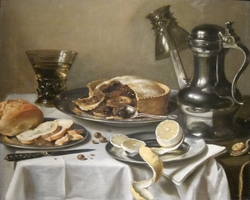 Still Life (Breakfast Piece with Berckemeyer))Alternative title(s):Still life with a Rembrandt Jug, two Berkemeyers, a Fruit-pie, plates with bread and a peeled lemon